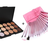 Pro Makeup Brushes AND Concealer Palette
