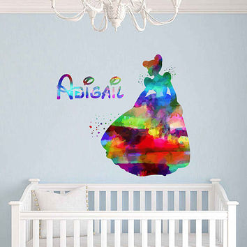 kcik2048 Full Color Wall decal Watercolor Character Disney Sticker Disney Cinderella Girl name Child's name