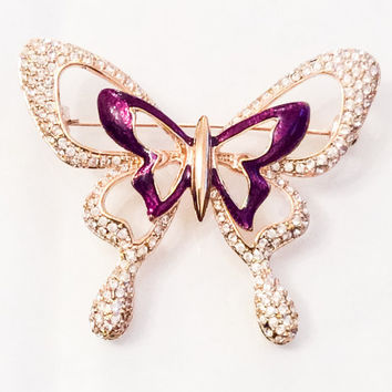 Rhinestone Butterfly Brooch, Purple Enamel, 1960s, Vintage Jewel