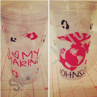 "Custom I love my ""marine"" (etc) cheetah print Acrylic Tumbler"