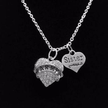 Crystal Army Sister Heart Military Soldier Gift Charm Necklace