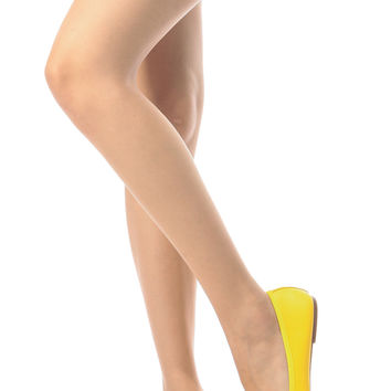 Yellow Faux Leather Basic Flats
