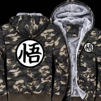 Dragon Ball Z Hoodie Anime Son Goku Cosplay Costume Winter Men's Sweatshirts Army Ggreen Camouflage Coat jacket men streetwear