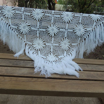 Wedding Shawl, Triangular Shawl Hand Knit Shawl, Winter Shawl Wedding Shrug Bridesmaid Shawl White Shawl Floral Shawl