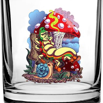 Smoking Caterpillar w/Pet Snail & Mushrooms - 3D Color Printed Scotch Whiskey Glass 10.5 oz