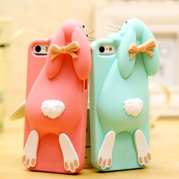 For iPhone 6S Cute 3D Cartoon Bunny Rabbits Soft Silicone Case For iPhone 5 5S  6S 6 7 8 Plus X Back Cover Minions