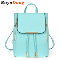 Drawstring Hooded Backpack Women School Bags For Teenagers PU Candy Color Two Zipper 2016 Mochila Rugtas Sac A Dos