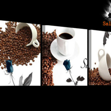 Spilled Coffee Beans, 3 Panels Paintings for the Kitchen, Cafe, Restaurant Wall Decor, Modern Canvas Art Set, Wall Pictures