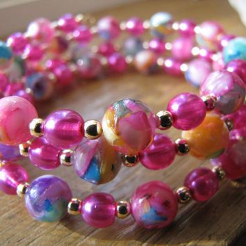 mother of pearl and hot pink glass beads plus size women's  3 strand bangle bracelet