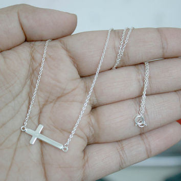"925 Sterling Silver Sideways Cross Necklace, Cross Necklace, Horizontal cross Necklace, 18"" cross necklace, Bridesmaid Gift, Gift for her"