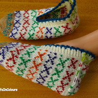 Unique Turkish hand knitted women's warm winter slipper socks, slippers, house socks.