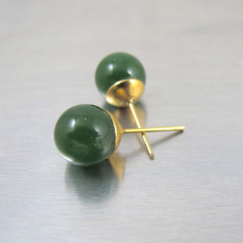 14K Jade Ball Bead Earrings, Yellow Gold Jadeite Jade Studs, Vintage Chinese Translucent Jade Bead Jewelry, Jade Post Pierced Earrings