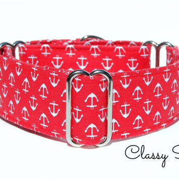 Greyhound Martingale collar, red martingale collar, nautical collar, whippet collar, 2 inch martingale dog collar, 1.5 inch martingale