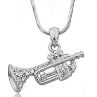 Silvertone with Clear Stones 3d Trumpet Pendant 16 Inch Snake Franco Necklace