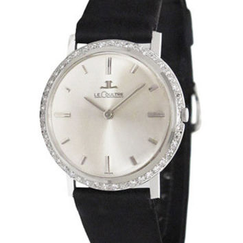 Pre-Owned LeCoultre Manual Wind Diamond Mens Watch - 14K White Gold Case - Strap