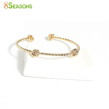 "8SEASONS Copper Cable Twisted Open Cuff Bangles Bracelets Gold Color Silver Color Love Knot Spiral 16.3cm(6 3/8"") long, 1 Piece"
