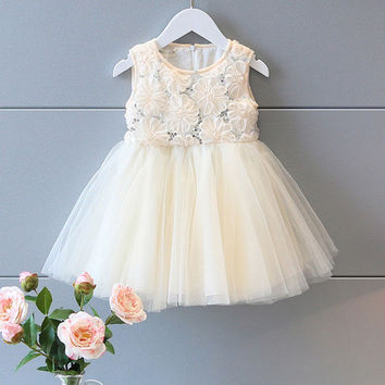 Dress 2016 Girl kids Bridesmaid Sequined Flower Prom Party Princess Ball Gown Cute Formal Mini Dress Girl Clothing Summer