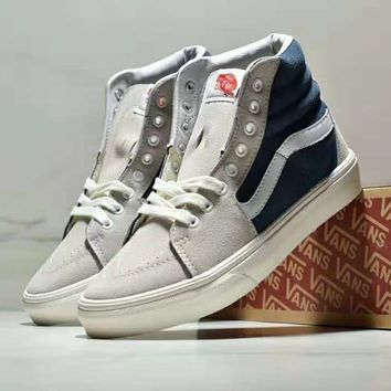 VANS SK8 HI REISSUE color matching classic men and women casual skate shoes  grey 078cf77fd