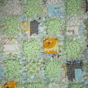 Baby Boy Toddler Rag Quilt Blanket - Elephants, Crocodile, Lion - Green, Flannel