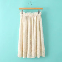 Floral Lace Embroidered Chiffon Midi Skirt