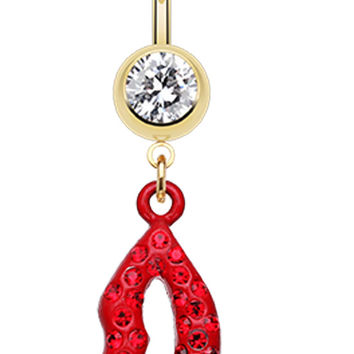 Glamour Lip Sparkle Belly Button Ring