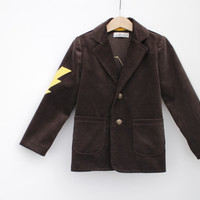 Boys blazer Boys Corduroy jacket with lightning applique Boys clothes Boys autumn Brown blazer