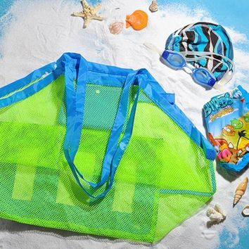 1 Pcs Swimming Bags Portable Beach Foldable Mesh Beach Storage Baskets Waterproof Outdoor Sport Swimming Pool Bag For Children