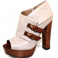 GREY TRENDY CHIC BUCKLE DESIGN BOOTIE @ KiwiLook fashion