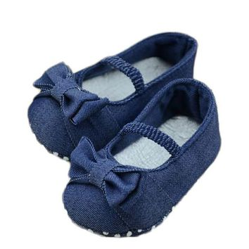 Baby Bowknot Denim Toddler Princess First Walkers Girls Kid baby girls Shoes