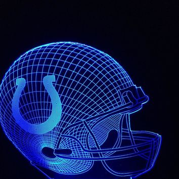 3D Night Light Indianapolis Colts Football Cap Team Logo Helmet Changeable 7 Colors Home Decor Football Fans Xmas Gifts Lamparas