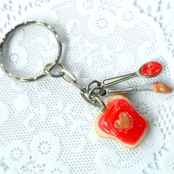 Peanut Butter Heart and Strawberry Jelly Keychain, With Knife & Spoon, Cute :D