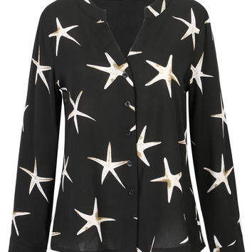 Black V-neck Star Print Chiffon Shirt