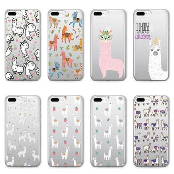 Llama Alpaca Soft Clear iPhone 5 5S SE 6 6S 6Plus 7 7Plus 8 8Plus X Phone Cover Case