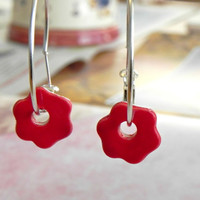 Red Flower Ceramic Earrings  Sterling Silver Plated Hoop Earrings Minimalist Ceramic Jewelry