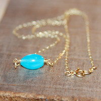 Teal Necklace, Tiny Teal Necklace, Delicate Gold Necklace, Teal Layering Necklace, 14k Gold Filled Chain Necklace, Gifts for Her