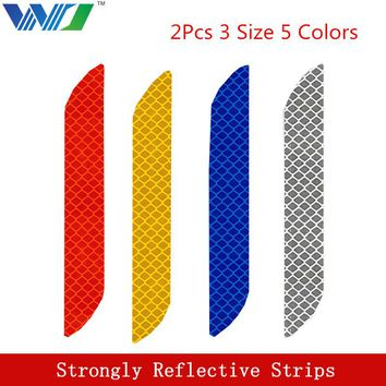 WJ 2Pcs 3 Size 5 Colors Tape Reflective Strips Stickers The Bumper Car Sticker Brand Car Decal Sticker Car Accessories Styling