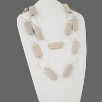 "48"" Long Bleached Wood Rectangles with Silver Metal Rings Necklace"