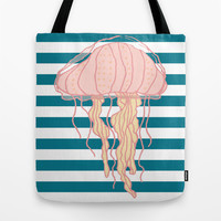 Jellyfish Bold Blue Stripes Tote Bag by Doucette Designs