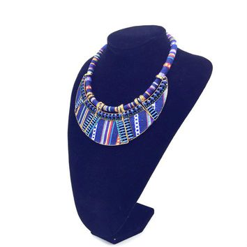2017 women choker necklace rope chain bohemia boho collar tribal ethnic vintage navy blue big necklace & pendants jewelry bijoux