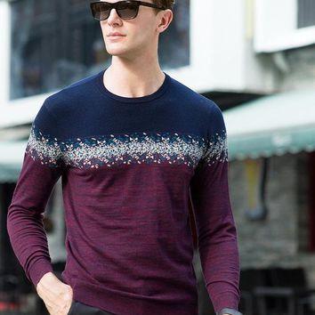 Men's Patchwork Colors Casual Sweater Male's Knitting Pullover Wool Sweater coat