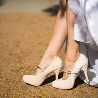 Wedding Shoes - Nude Bridal Shoes, Nude Mary Jane Heels, Wedding Heels with Ivory Lace. US Size 6.5