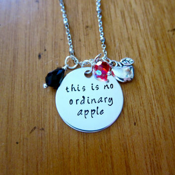 "Snow White Inspired Necklace. Poison Apple. Evil Queen Villain. ""This is no ordinary apple"". Snow White. Silver colored. Swarovski crystals"