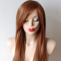 Spring  Special // Ginger red Honey blonde mix color wig. Long wavy hair with side bangs wig, High quality Heat resistant synthetic wig.