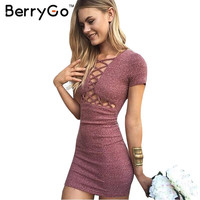 BerryGo Autumn winter knitted lace up girls dress women Sexy red bodycon dress 2016 Elegant party short sleeve dress vestidos