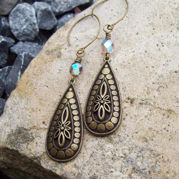 Teardrop Floral Adorn Drop Earrings with AB Smoke Crystals - Rustic Bohemian - Dangle Earrings