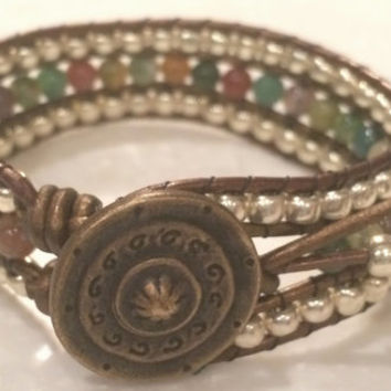 Beautiful Handcrafted Fancy Jasper Bead and Leather Cuff Bracelet