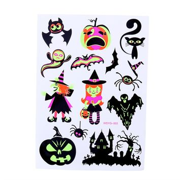 Temporary Tattoos Halloween Makeup for Boys and Girls Fluorescent Pumpkin Ghost and Bat Art Tattoos Creative Stickers (035)