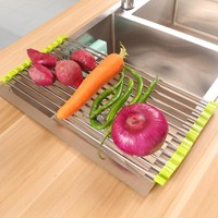 Functional Folding Kitchen Sink Roll Up Dish Rack Stainless Steel Colander Dish Drainer Tray Fruit Vegetable Wash Drying Tools