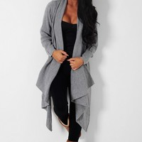 Mineral Grey Draped Waterfall Cardigan | Pink Boutique