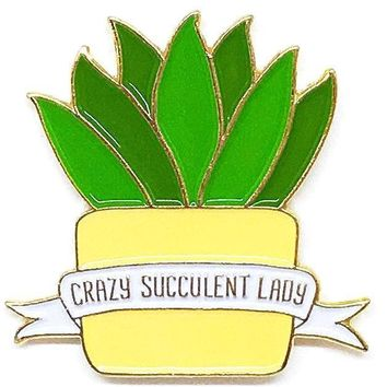 Crazy Succulent Lady Enamel Pin in Green and Yellow